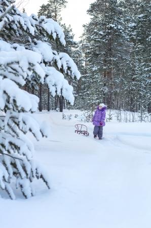 Little girl walking in winter forest Stock Photo - 17154466