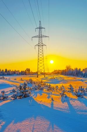 Power line frosty winter evening Stock Photo