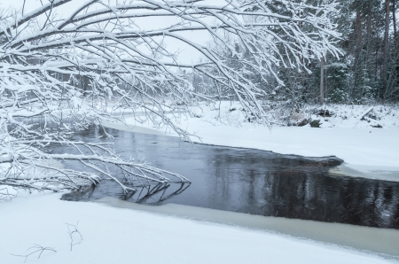 Landscape with a freezing river photo