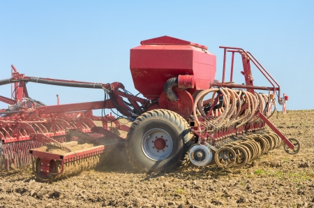 seed drill: Seeder in the field close up