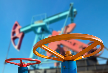 Oil valve with rocking machine in the background