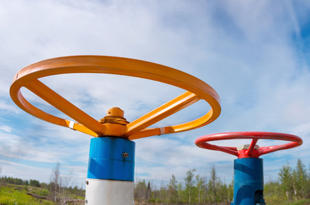 chemical industry: Two gas valve against the sky