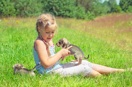 A child on a walk with a little puppy photo