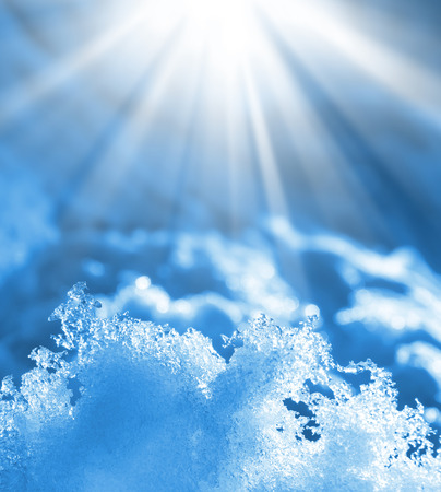 winter thaw: Spring background with shiny melted snow Stock Photo