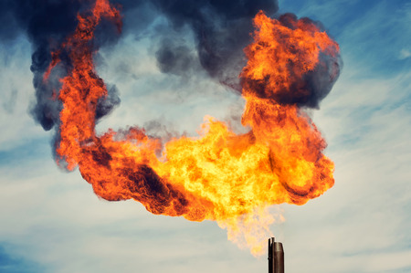associated: Huge flame from burning of associated gas Stock Photo