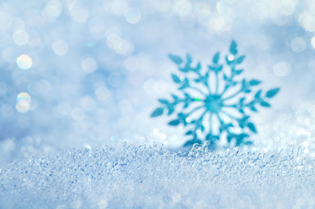 snowdrift: Christmas background with icy blurred decorative snowflake