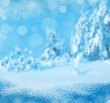 snowdrifts: Winter background with a snow-covered forest and snowdrifts.