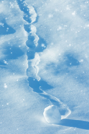 boule de neige: Winter background with snowball and brilliant snow Banque d'images