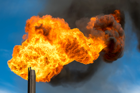 oil and gas: Gas flaring. Burning of associated gas at oil production.