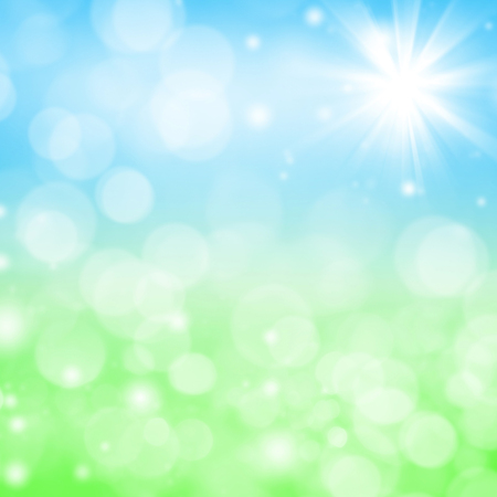 skies: Abstract bright spring background with blurry grass and sky Stock Photo
