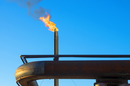 annihilation: Gas torch. Burning of associated gas at oil production.