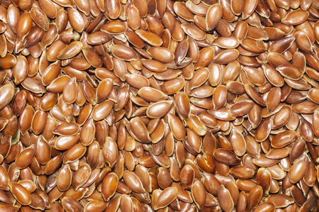cathartic: Natural background from ripe flax seeds. Linum usitatissimum. Stock Photo