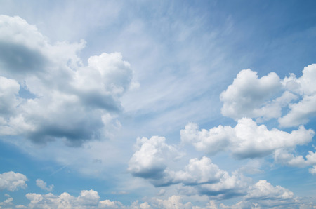 wadded: Summer heavenly landscape with beautiful wadded clouds Stock Photo