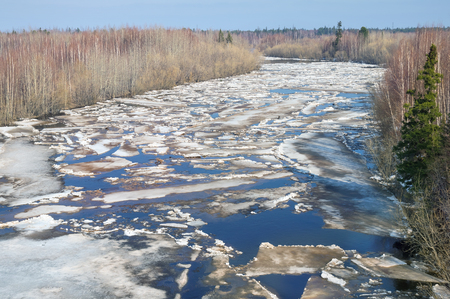 drifting ice: Spring landscape with drifting ice on the river Stock Photo