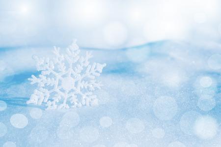 snowflake snow: Christmas background with decorative snowflake on brilliant snow