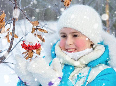 The child in the forest with bunch of snow-covered mountain ash photo