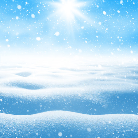 snowdrifts: Winter background. Winter bright landscape with snowdrifts and falling snow.