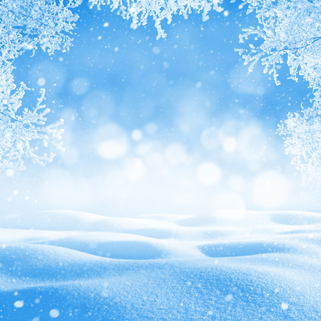 snowdrifts: Winter background. Winter bright landscape with snowdrifts and falling snow. Branches of trees in hoarfrost.