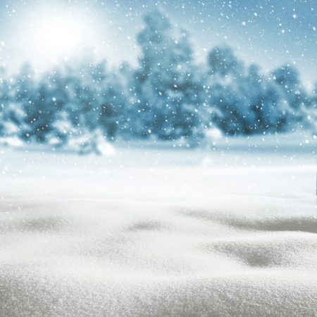 drifts: Winter background with snow drifts and snow-covered forest Stock Photo