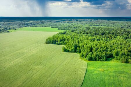 Aerial photography from drone. Summer landscape with views of agricultural fields Stock Photo