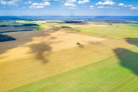 Summer rural landscape. Aerial survey of agricultural fields. Picturesque rural fields from a bird's eye view. Standard-Bild