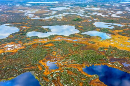 Aerial photography of landscape in Western Siberia. Northern Siberian landscape with colorful swamp and forest.