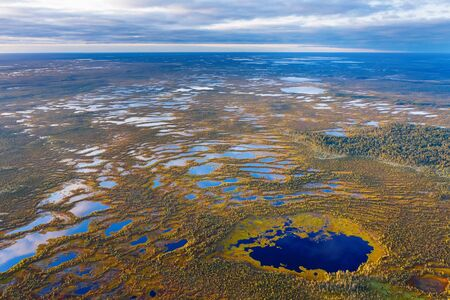 Autumn landscape. West Siberian Plain. Aerial view. Endless forests and swamps of Siberia.