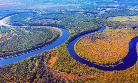 Aerial photography of landscape in Western Siberia.