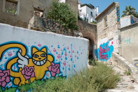 Graffiti and Street art in a street of Lisbon, Portugal Redakční