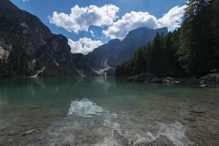 View of the Braies Lake (Pragser Wildsee, also called Lago di Braies or Lake Prags) in Dolomites mountains, Sudtirol, Trentino Alto Adige, Italy Stock Photo