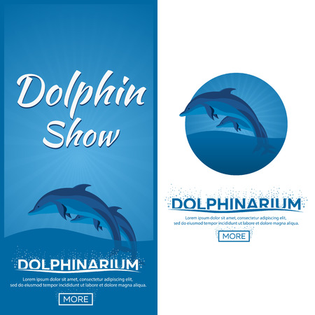 dolphinarium: Dolphinarium. Dolphin show. Banner. Ticket. Vector flat illustration.