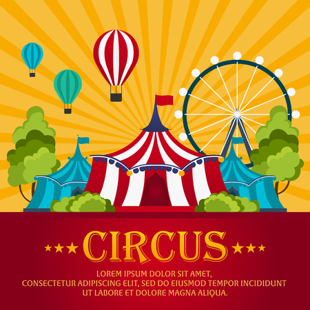 Funfair. Circus performance, Circus tent. Flat illustration