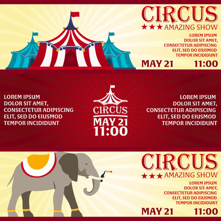 circus ticket: Set Circus banner, circus ticket. Amazing Show. Flat illustration Illustration