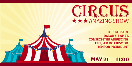 circus ticket: Circus banner. Circus ticket. Amazing Show. Flat illustration