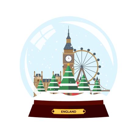 ロンドンのクリスマスの旅。ベクトル フラット イラスト。旅行