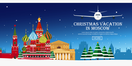 moscow: Christmas Journey to Russia, Moscow. Vector flat illustration. Travel