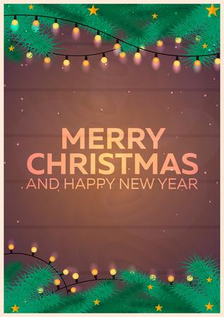 クリスマス ポスター。メリー クリスマスと新年あけましておめでとうございます。クリスマス背景