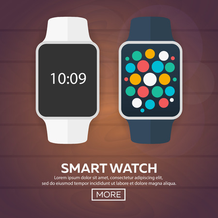 watch face: Smart watch isolated on white. Stainless silver smart watch. Vector smart watch with watch app. Smart watch stainless reflected on white surface. Watch icon on smart watch screen. Smart watch face Illustration