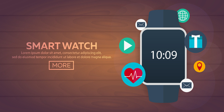watch face: Smart watch isolated on white. Stainless silver smart watch. Vector smart watch with watch app. Smart watch stainless reflected on white surface. Watch icon on smart watch screen. Smart watch face eps