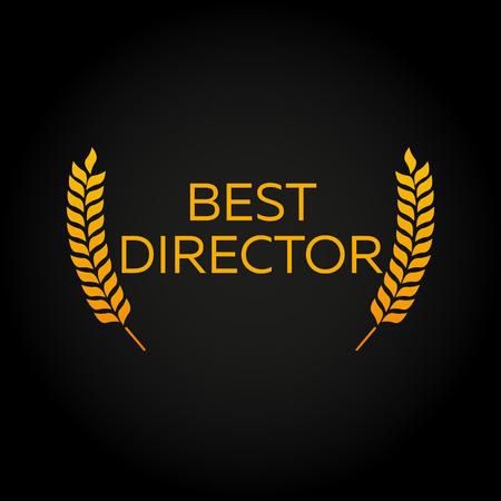 feature films: Best director. Laurel. Film Awards Winners. Film awards . Cinema. Vector illustration.