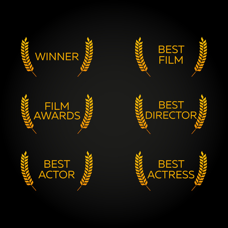 nomination: Film Festival set. Laurel. Winner, Best film, director, actor, actress. Film Awards Winners. Film awards . Cinema. Vector illustration.