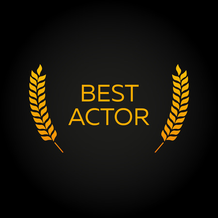 Best actor. Laurel. Film Awards Winners. Film awards . Cinema. Vector illustration.  イラスト・ベクター素材