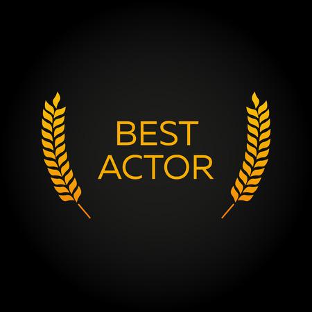 Bester Schauspieler. Lorbeer. Film Awards Gewinner. Filmpreise. Kino. Vektor-Illustration.