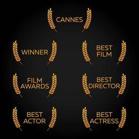 actress: Cannes Festival set. Laurel. Winner, Best film, director, actor, actress. Film Awards Winners. Film awards . Cinema. Vector illustration. Illustration