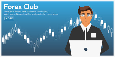 Forex market, trading. Forex club. Online trading. Technologies in business and trading. Artificial intelligence. Equity market. Business management. Modern flat design Stock Illustratie