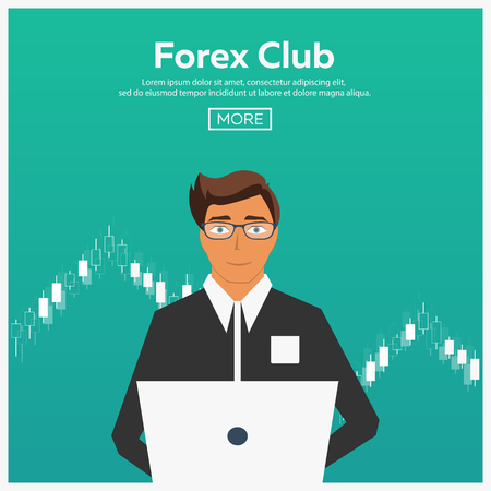 trading: Forex market, trading. Forex club. Online trading. Technologies in business and trading. Artificial intelligence. Equity market. Business management. Modern flat design Illustration