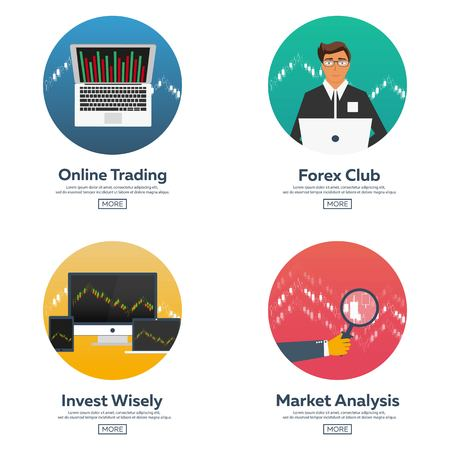 online trading: Forex market, trading. Forex club. Online trading. Technologies in business and trading. Artificial intelligence. Equity market. Business management. Modern flat design Illustration