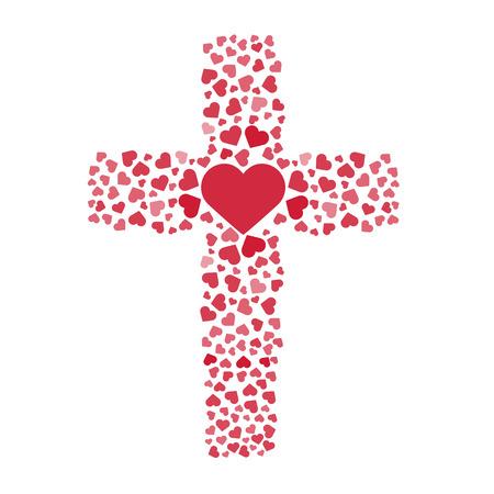 Jesus true love. Cross. Heart. Love. Vector illustration Vettoriali