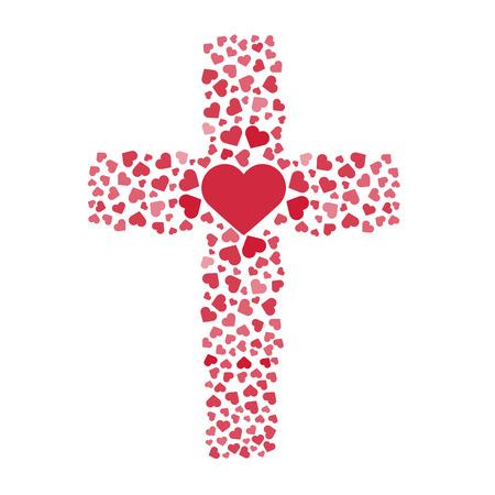 Jésus l'amour vrai. Traverser. C?ur. Amour. Vector illustration