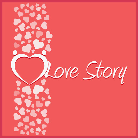 14 of february: Love story . Vector illustration. Love, hearts. Valentines day. Be my valentine. 14 february. Illustration